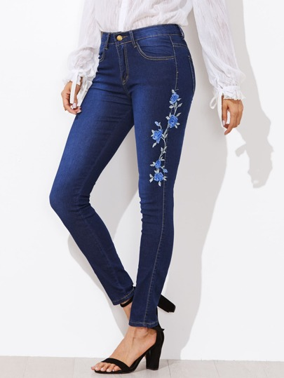 Floral Embroidered Applique Skinny Jeans