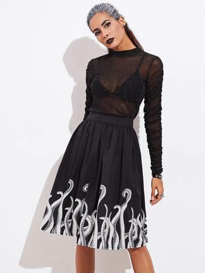 """Модная юбка с принтом \""""Хэллоуин\"""""""
