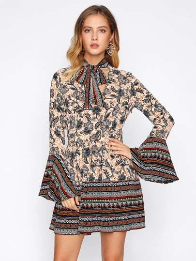 Bell Sleeve Tie Chocker Neck Mixed Print Dress