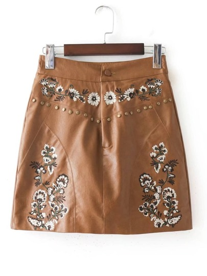 Studded Detail Embroidery PU Skirt