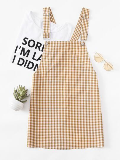 Detachable Strap Gingham Pinafore Dress