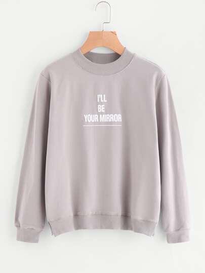Vented Hem Graphic Pullover