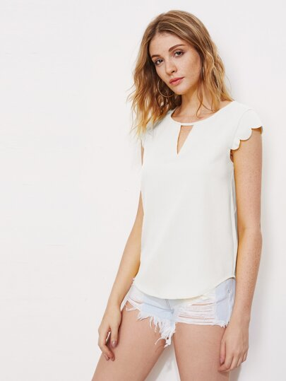 V Notch Front Scallop Trim Curved Hem Top