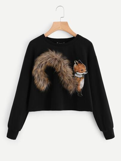 Faux Fur Fox Patch Sweatshirt