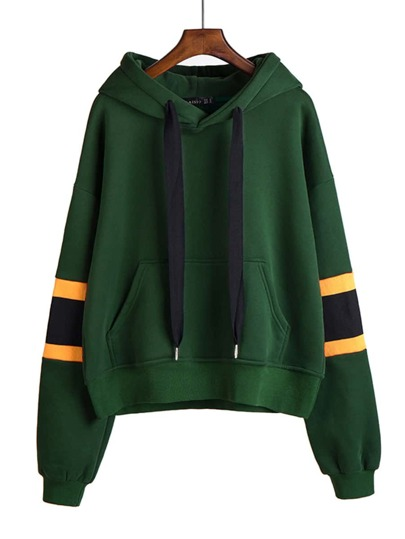 Stripe Panel Drop Shoulder Hoodie