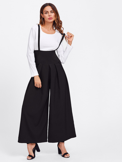 Boxed Pleated Wide Waistband Palazzo Pants With Strap