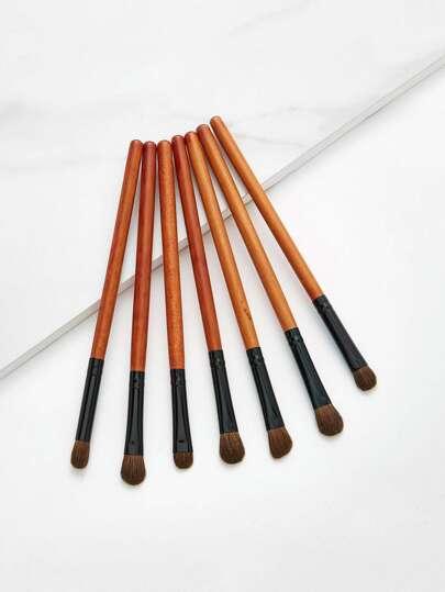 Set di spazzola per occhi con manico in legno 7 pezzi