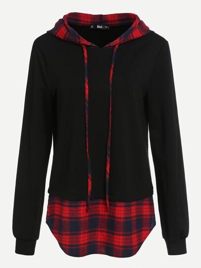 Camisa de capucha con bajo redondeado