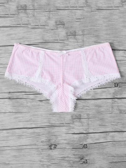 Lace Trim Gingham Panty