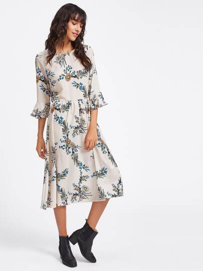 Ruffle Sleeve Floral Print Random Dress