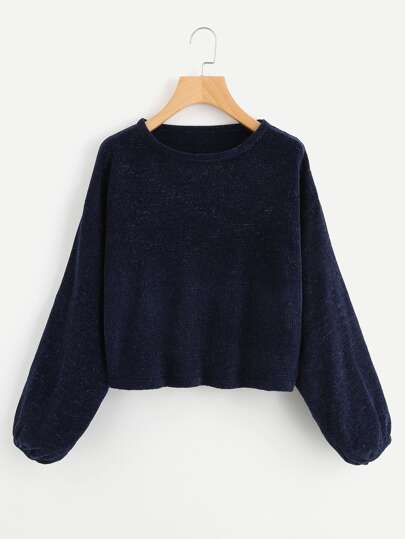 Drop Shoulder Lantern Sleeve Chenille Sweater
