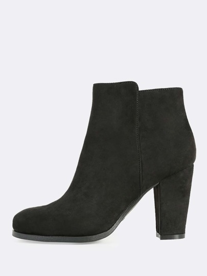 Faux Suede Round Toe Boots BLACK