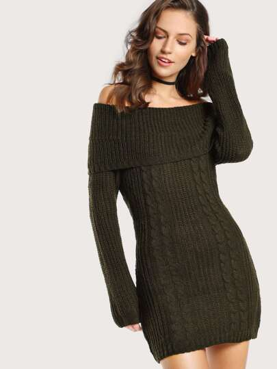 Off Shoulder Knit Sweater Dress OLIVE