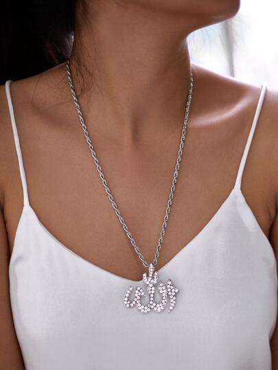 Collier de chaîne avec pendentif géométrique de strass