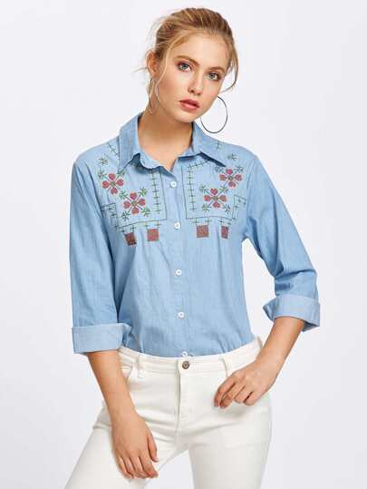 Embroidery Chambray Shirt