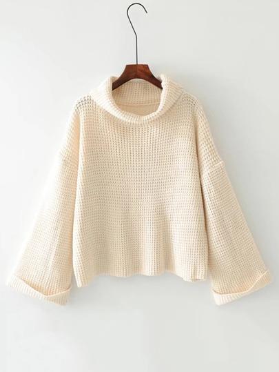 Suéter tejido waffle de cuello alto