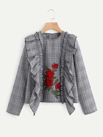 Embroidered Flower Patch Frilled Plaid Top