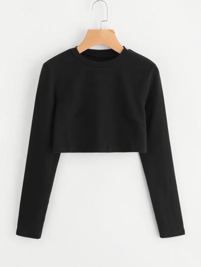 Crop T-Shirt mit langen Ärmeln
