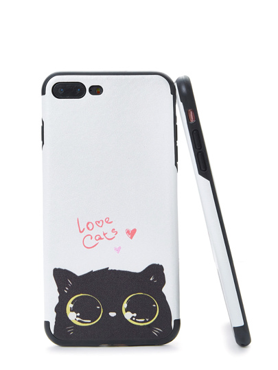 Cover per iphone con stampa di gatto di due toni
