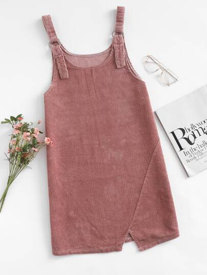 Corduroy Cut Out Hem Overall Dress