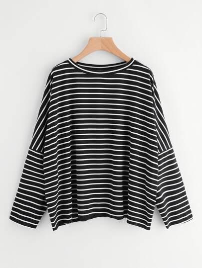 Drop Shoulder Striped Dolman T-shirt