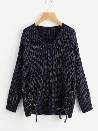 Grommet Lace Up Side Jumper