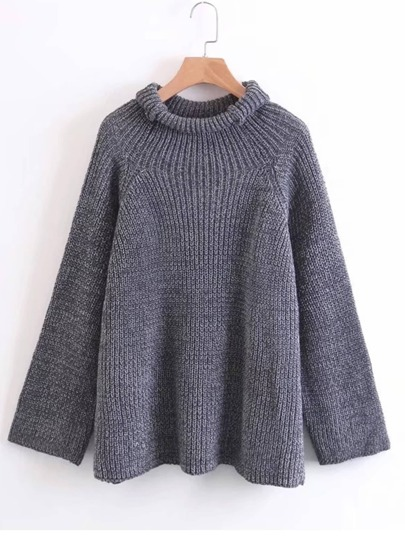 Rolled Neck Raglan Sleeve Sweater