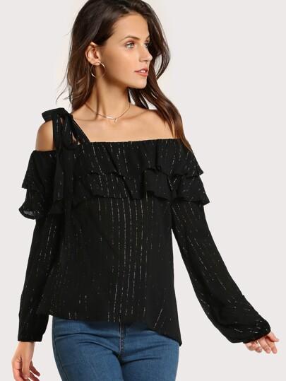 Single Shoulder Striped Top BLACK