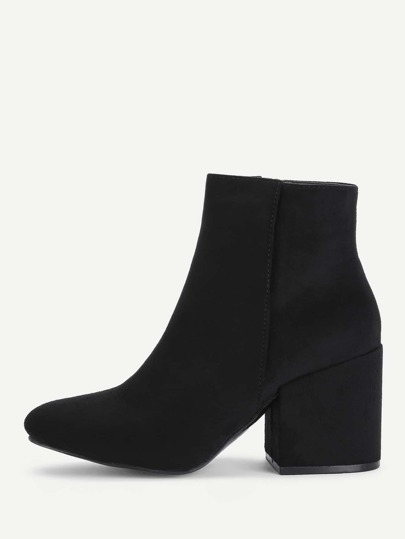 Side Zipper Block Heeled Ankle Boots