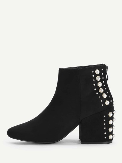Studded & Faux Pearl Back Ankle Boots