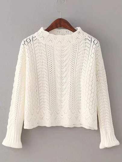 Flute Sleeve Crochet Knitwear