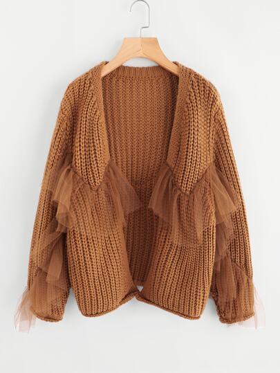 Maglione con volant in tessuto
