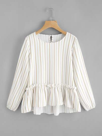 Vertical Striped Frill Hem Babydoll Blouse