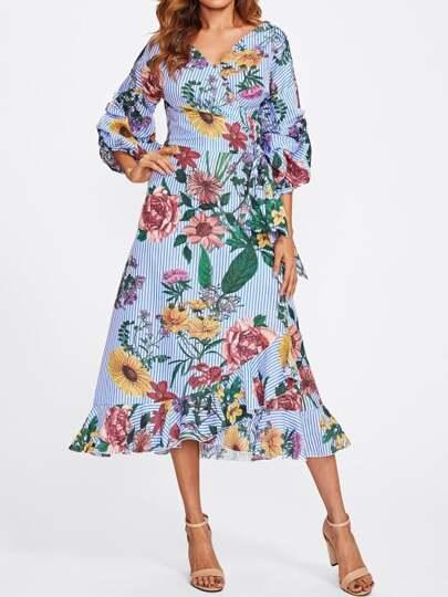 Mixed Print Gathered Sleeve Frilled Wrap Dress