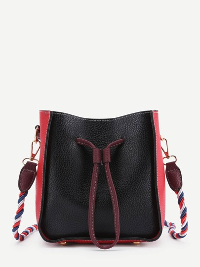 Two Tone Drawstring PU Shoulder Bag