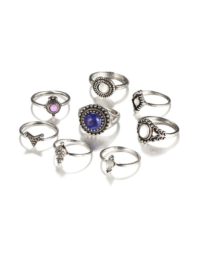 Multi Shaped Gemstone Ring Set 8pcs