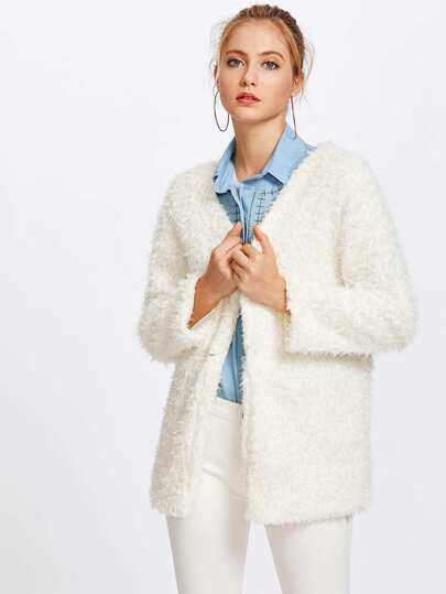 Faux Fleece Coat With Hook & Eye