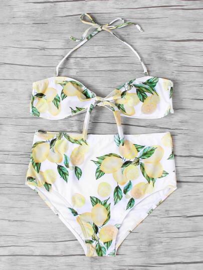 Conjunto de bikini bandeau con nudo en la parte delantera