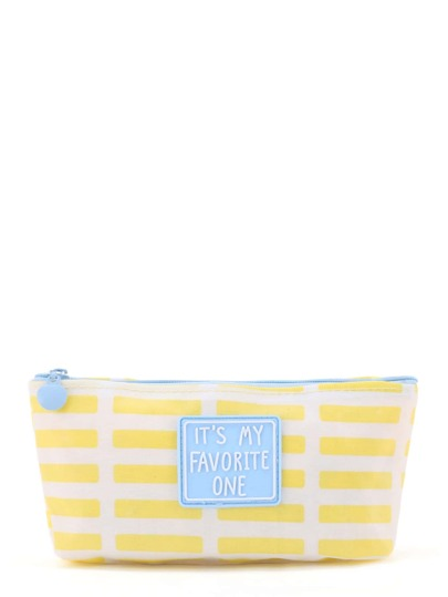 Slogan Grid Zipper Pouch
