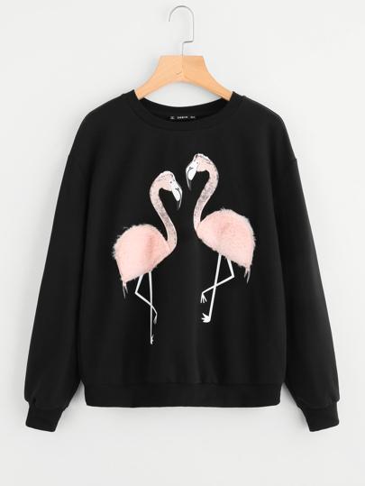 Faux Fur Flamingo Sweatshirt
