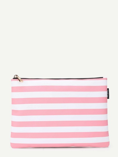 Block Striped Zipper Clutch Bag