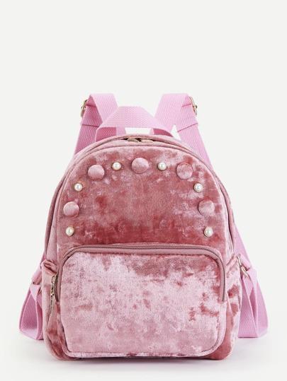 Faux Pearl Detail Velvet Backpack