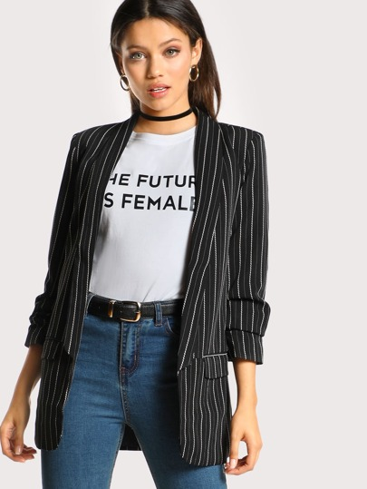 Pinstripe Shirred Sleeve Blazer BLACK