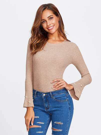 Pearl Beaded Sleeve Ribbed Sweater