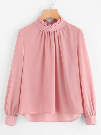 Frill Collar Puff Sleeve Blouse