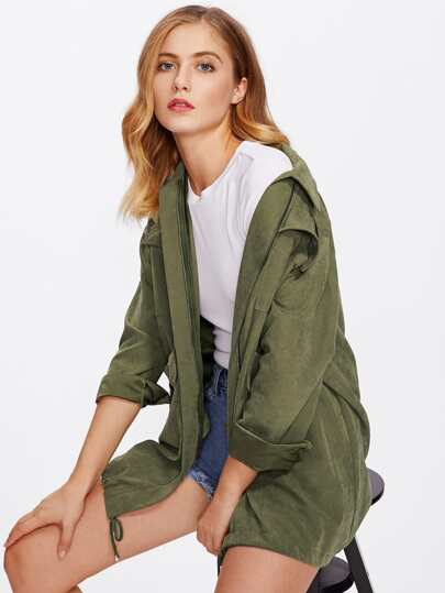 Drawstring Hem Multi Pocket Military Jacket