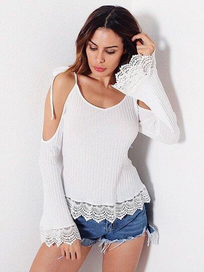Lace Trim Cold Shoulder Ribbed Tee