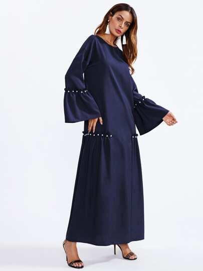 Pearl Beading Bell Sleeve Hijab Long Dress