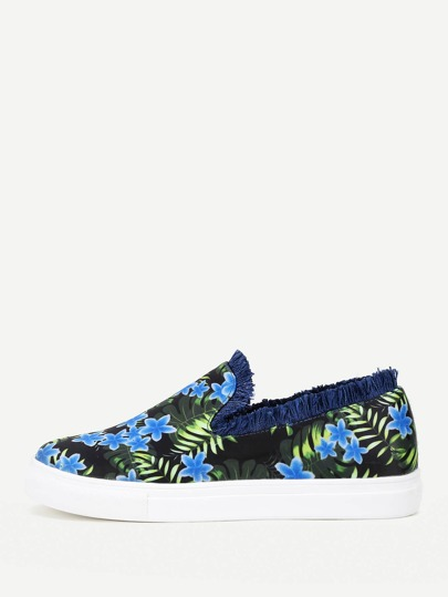 Flower Print Fringe Trim Slip On Plimsolls
