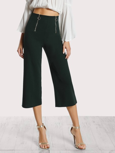 High Rise Double Zipper Pants GREEN